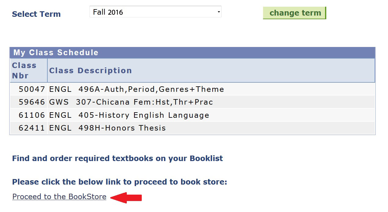 UAccess Student Center My Class Schedule Booklist